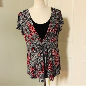 Abstract floral design red black white blouse